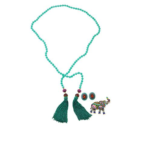 "Heidi Daus ""Happy Elephant"" Crystal and Enamel Jewelry Set"