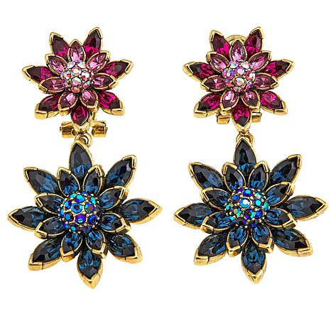 "Heidi Daus ""Leaping Lily Pads"" Crystal-Accented Drop Earrings"