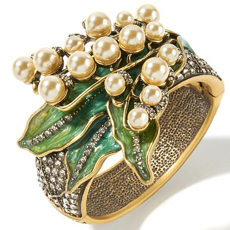 """Heidi Daus """"Lily of the Valley"""" Crystal and Enamel Bangle Bracelet"""