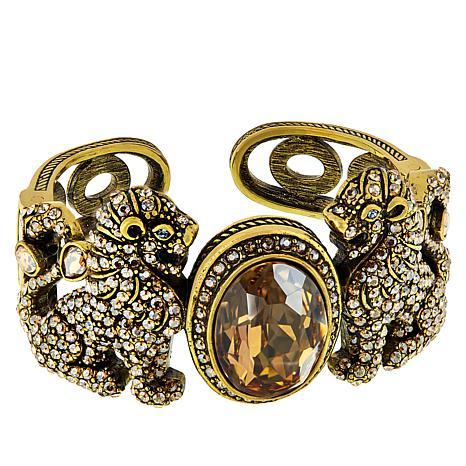 "Heidi Daus ""Lion Royalty"" Crystal Hinged Cuff Bracelet"