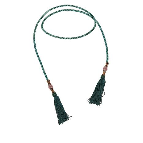 "Heidi Daus ""Lovely Luxe"" 54"" Braided Cord Tassel Drop Lariat Necklace"
