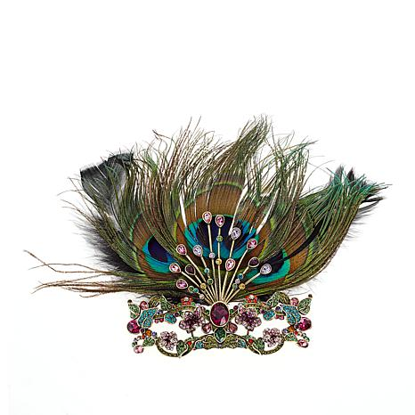 """Heidi Daus """"Masked Beauty"""" Crystal-Accented Feathered Pin"""