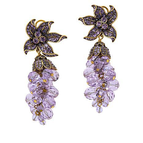 "Heidi Daus ""Perennial Cluster"" Beaded Drop Earrings"