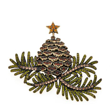 "Heidi Daus ""Pining For You"" Pinecone Tree Crystal Pin"