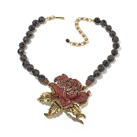 "Heidi Daus ""Rose Elegance"" Beaded Crystal Drop Necklace"