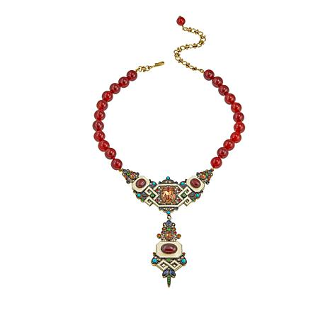 "Heidi Daus ""Stunningly Shelly"" Beaded Crystal Drop Necklace"