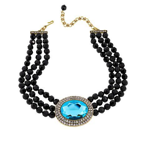 "Heidi Daus ""Tailored Elegance"" 3-Row Crystal Drop Necklace"