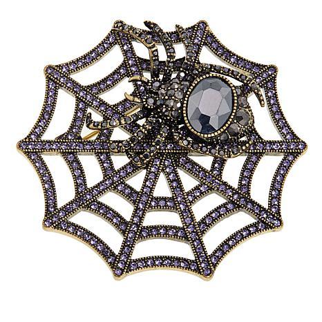"Heidi Daus ""Web Sales"" Crystal-Accented Spider Web Pin"