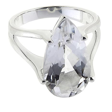 Herkimer Mines 6.5ct Pear-Shape Herkimer Quartz Sterling Silver Ring