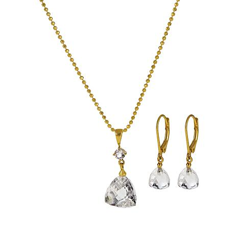 "Herkimer Mines ""Diamond"" Quartz 15.17ctw Faceted Pendant and Earrings"
