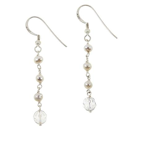 "Herkimer Mines ""Diamond"" Quartz and Gemstone Drop Earrings"