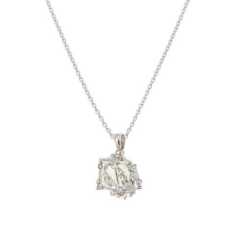 "Herkimer Mines ""Diamond"" Quartz Caged Pendant with Chain"