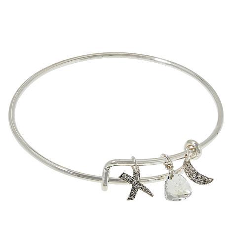 "Herkimer Mines ""Diamond"" Quartz Faceted Charm Bangle Bracelet"