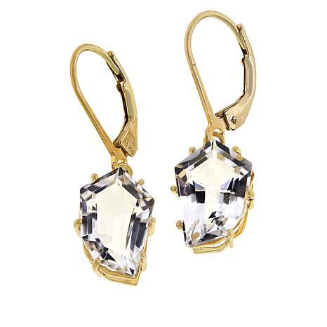 "Herkimer Mines ""Diamond"" Quartz Faceted Slice Drop Earrings"
