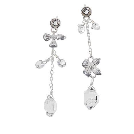 "Herkimer Mines ""Diamond"" Quartz Floral Mis-Match Drop Earrings"