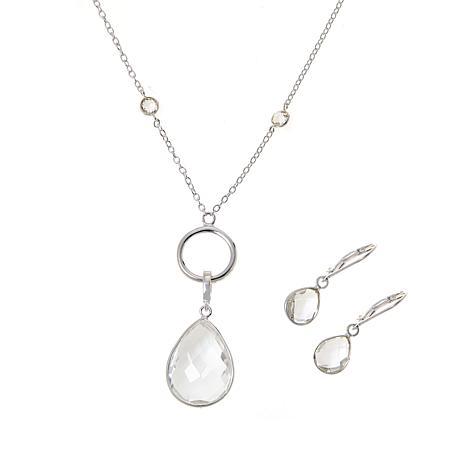 "Herkimer Mines ""Diamond"" Quartz Pendant Chain Necklace and Earrings"
