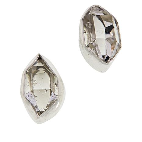 "Herkimer Mines ""Diamond"" Quartz ""Royalty"" Freeform Stud Earrings"