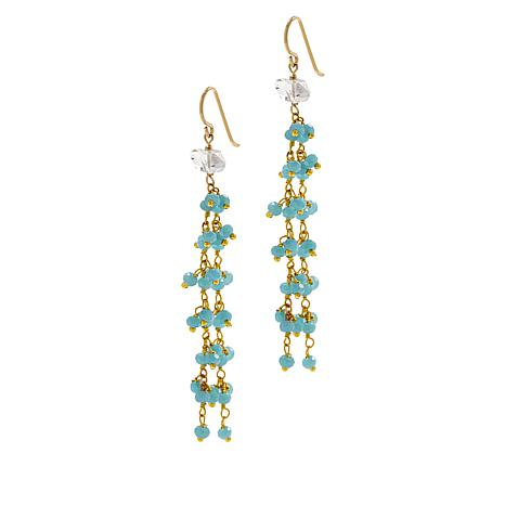 "Herkimer Mines Gold-Tone ""Diamond"" Quartz and Gem Dangle Drop Earrings"