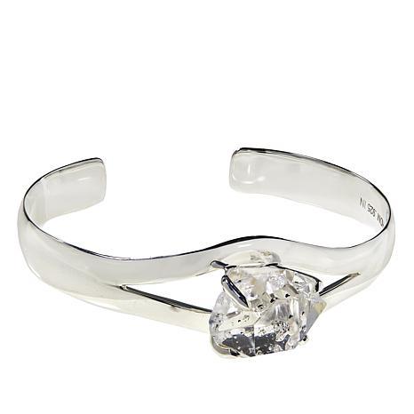 "Herkimer Mines Sterling Silver ""Diamond"" Quartz Mambo Cuff"