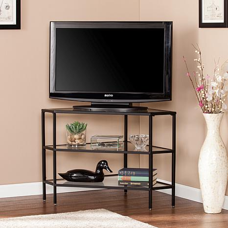 Hertik Metal/Glass Corner TV Stand - Black