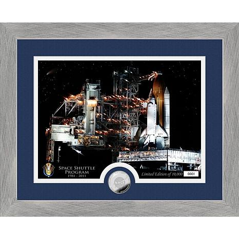 Highland Mint Space Shuttle Program Launch Pad Silver Coin Photo Mint