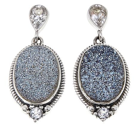 Himalayan Gems Caribbean Blue Drusy And White Topaz Oval Earrings