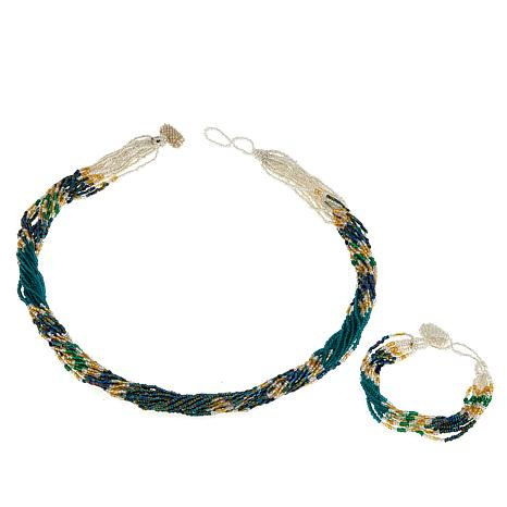 Himalayan Gems™ Green and Goldtone Potay  Necklace and Bracelet Set