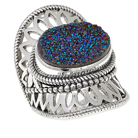 Himalayan Gems™ Green Drusy Lace Design Sterling Silver Ring