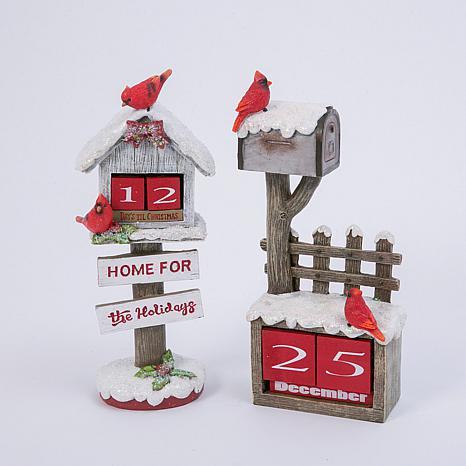 Holiday Cardinal Birdhouse & Mailbox Figurine 2-piece Set