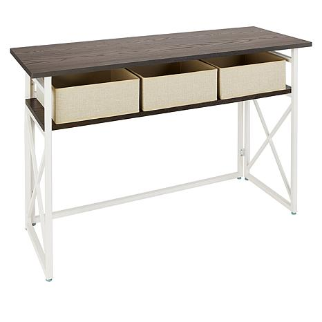 Home36 Collapsible Console Table with Storage Bins