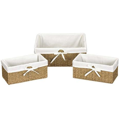 Household Essentials™ Set of 3 Seagrass Utility Baskets