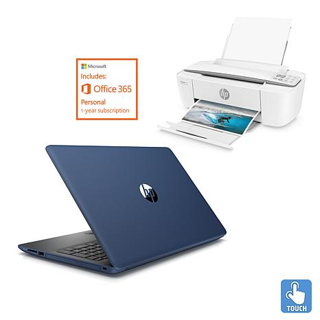 "HP 15.6"" Touch AMD 8GB RAM, 1TB HDD Laptop + Printer and Office Bundle"