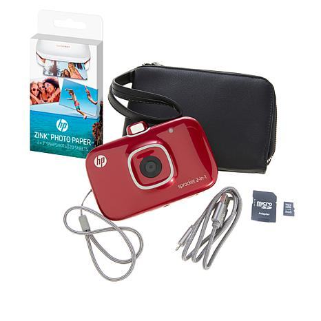 HP Sprocket 2-in-1 Portable Photo Printer and Camera Bundle