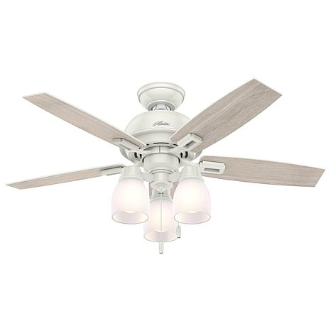 "Hunter 44"" Donegan White Ceiling Fan w LED Light Kit and Pull Chain"