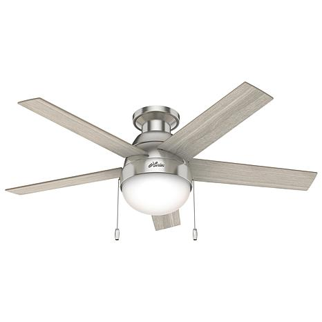 Hunter 46 Anslee Low Profile Ceiling Fan With Light And Pull Chain 9593012 Hsn