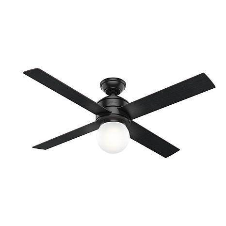 """Hunter 52"""" Hepburn Matte Black Ceiling Fan w/ Light Kit & Wall Control"""