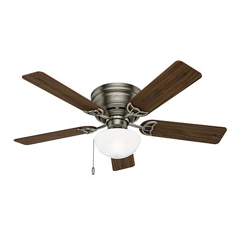 """Hunter 52"""" Low Profile Antique Pewter Ceiling Fan with Pull Chain"""
