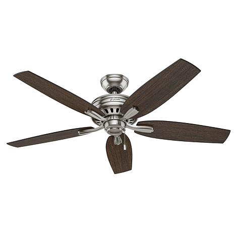 """Hunter 52"""" Newsome Brushed Nickel Ceiling Fan with Pull Chain"""