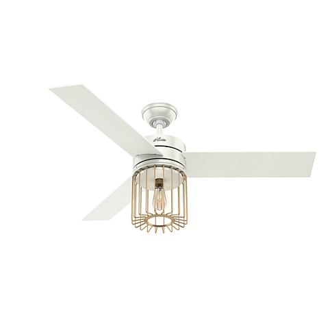 "Hunter 52"" Ronan Fresh White Ceiling Fan w/ Light Kit and Remote"