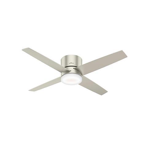 "Hunter 54"" WiFi Advocate Nickel Ceiling Fan with Light Kit & Remote"