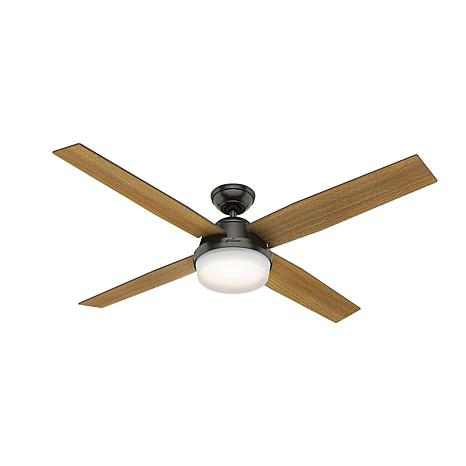 "Hunter 60"" Dempsey Noble Bronze Ceiling Fan w/ Light Kit and Remote"