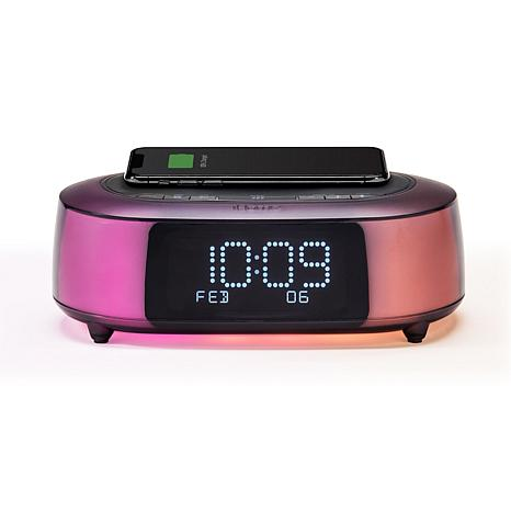 iHome Color Changing Bluetooth Alarm Clock with Qi Wireless Charging