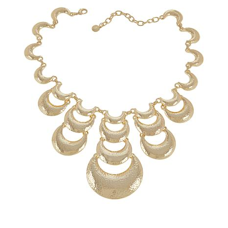 IMAN Boho Chic Goldtone Hammered Necklace