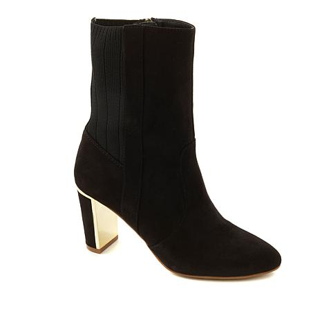 IMAN Global Chic Luxe Faux Suede and Stretch Knit Perfect Bootie