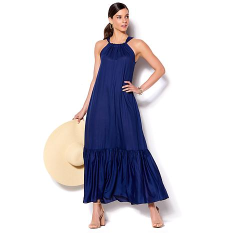 IMAN Global Chic Luxury Resort Ruffle Hem Maxi Dress