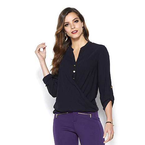 IMAN Global Chic Touch of Gold Twist-Front Flowy Top