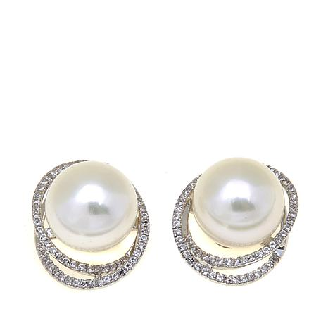 Imperial Pearls 10-11mm Pearl and Topaz Halo Earrings