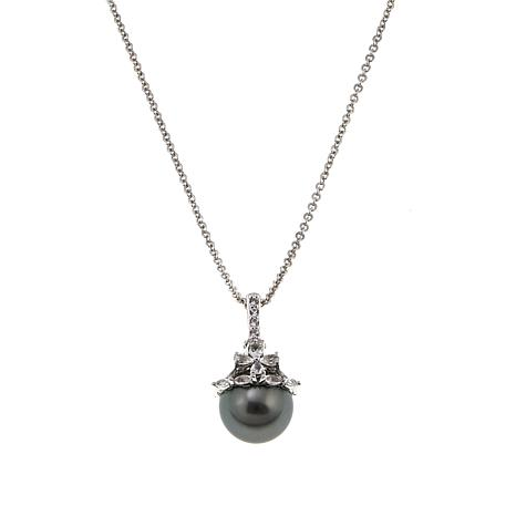 Imperial Pearls 11-12mm Cultured Tahitian Pearl and Topaz Pendant