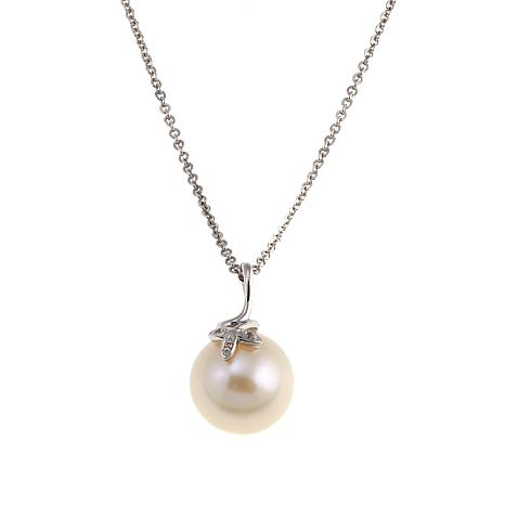 Imperial Pearls 13-14mm Cultured  Pearl and White Topaz Leaf Pendant