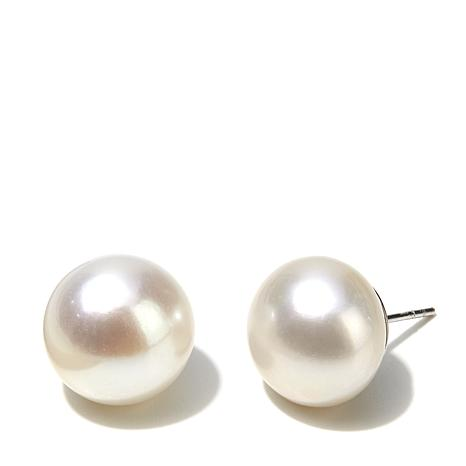 Imperial Pearls 13 14mm Cultured Freshwater Pearl Sterling Silver On Stud Earrings